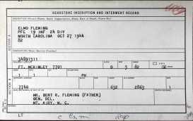 1944 PFC Elmo Fleming Grave Record Card at Ft. Mclinley Cemetery 10-27-1944